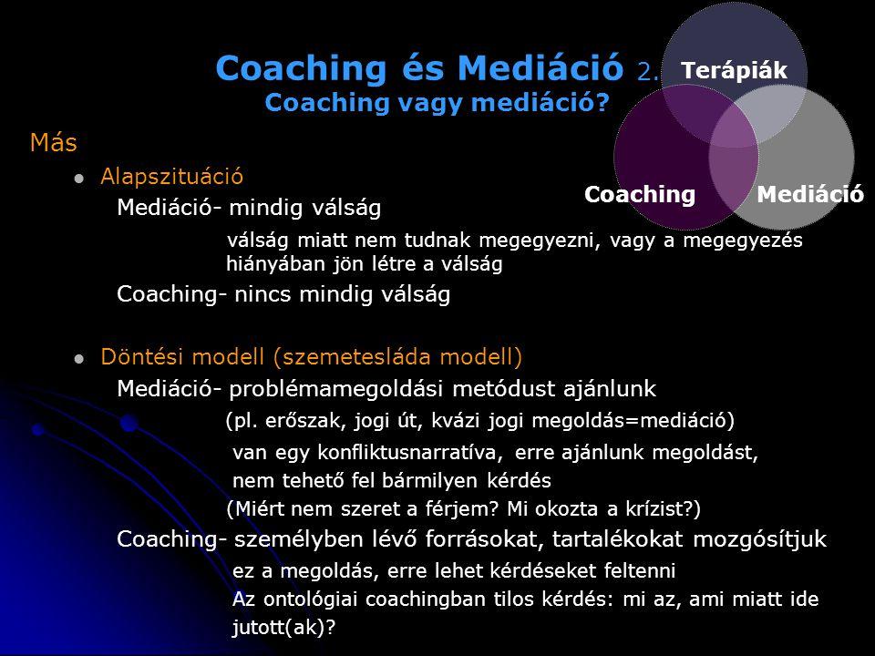 Coaching és Mediáció 2. Coaching vagy mediáció? Más   Alapszituáció Mediáció- mindig válság válság miatt nem tudnak megegyezni, vagy a megegyezés hi
