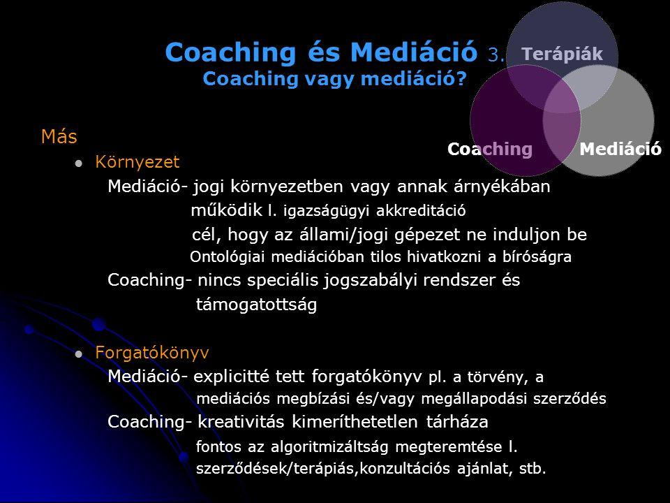 Coaching és Mediáció 3. Coaching vagy mediáció? Más   Környezet Mediáció- jogi környezetben vagy annak árnyékában működik l. igazságügyi akkreditáci