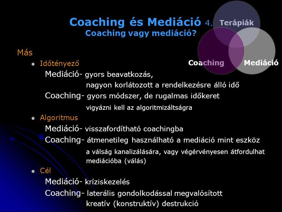 Coaching és Mediáció 4. Coaching vagy mediáció? Más   Időtényező Mediáció- gyors beavatkozás, nagyon korlátozott a rendelkezésre álló idő Coaching-