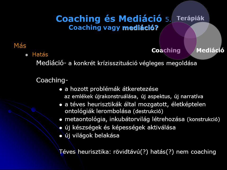 mediáció? Coaching és Mediáció 5. Coaching vagy mediáció? Más   Hatás Mediáció- a konkrét krízisszituáció végleges megoldása Coaching-   a hozott