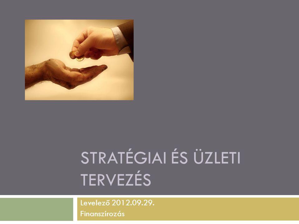 STRATÉGIAI ÉS ÜZLETI TERVEZÉS Levelező 2012.09.29. Finanszírozás