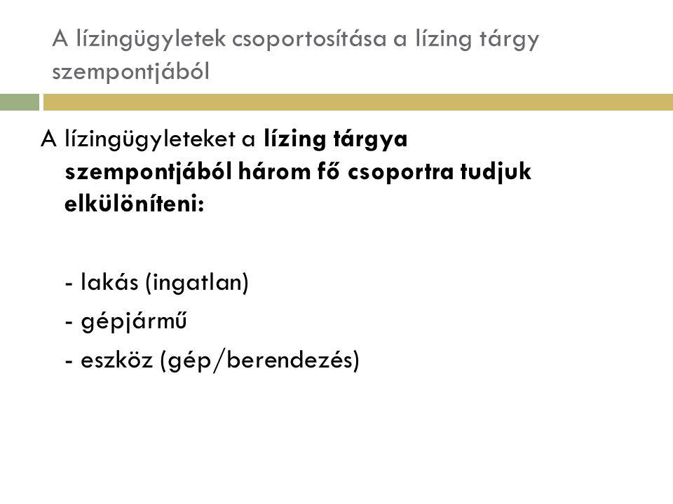 A lízingügyletek csoportosítása a lízing tárgy szempontjából A lízingügyleteket a lízing tárgya szempontjából három fő csoportra tudjuk elkülöníteni: