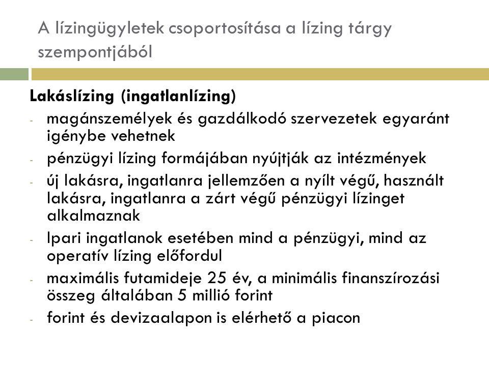 A lízingügyletek csoportosítása a lízing tárgy szempontjából Lakáslízing (ingatlanlízing) - magánszemélyek és gazdálkodó szervezetek egyaránt igénybe