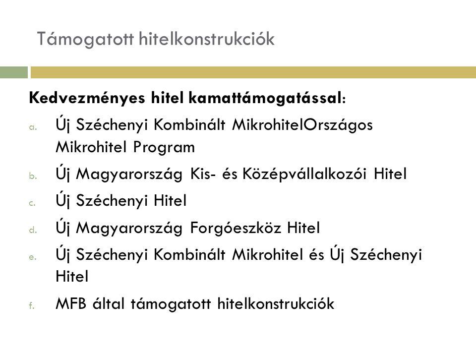 Támogatott hitelkonstrukciók Kedvezményes hitel kamattámogatással: a. Új Széchenyi Kombinált MikrohitelOrszágos Mikrohitel Program b. Új Magyarország