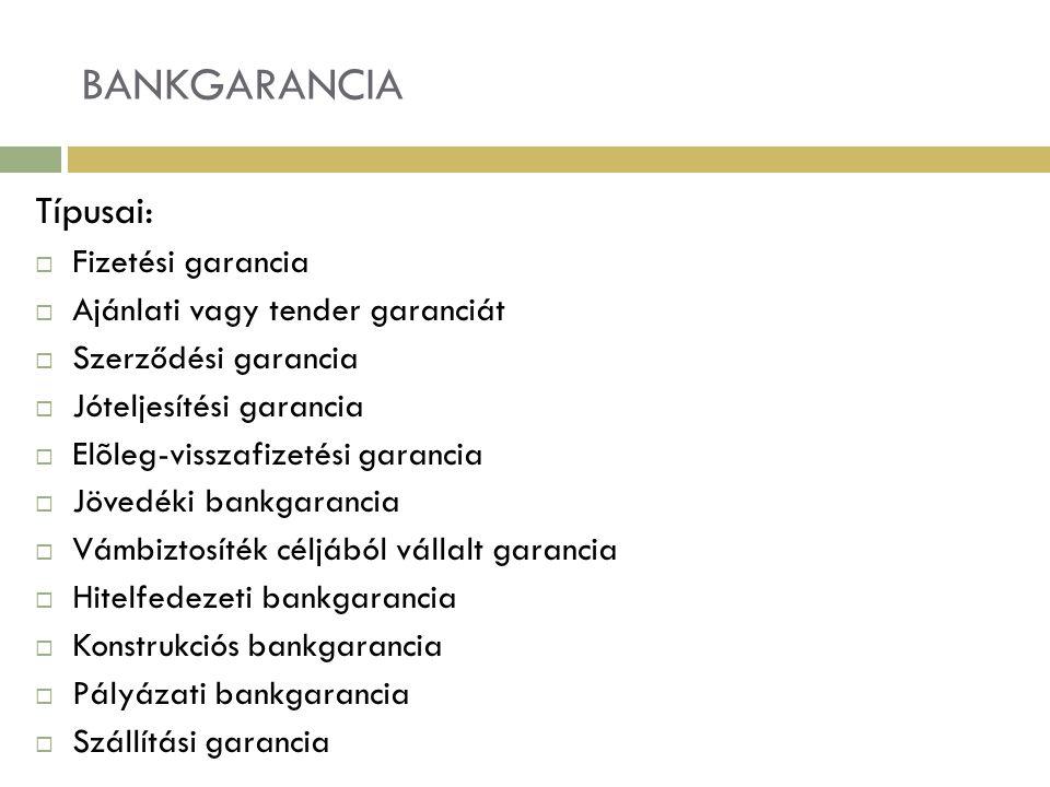 BANKGARANCIA Típusai:  Fizetési garancia  Ajánlati vagy tender garanciát  Szerződési garancia  Jóteljesítési garancia  Elõleg-visszafizetési gara