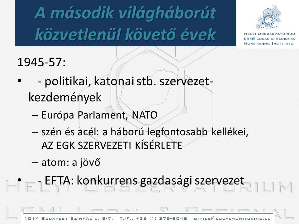 A második világháborút közvetlenül követő évek 1945-57: • - politikai, katonai stb. szervezet- kezdemények – Európa Parlament, NATO – szén és acél: a
