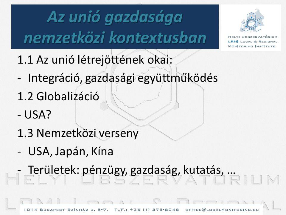Az unió gazdasága nemzetközi kontextusban 1.1 Az unió létrejöttének okai: -Integráció, gazdasági együttműködés 1.2 Globalizáció - USA? 1.3 Nemzetközi