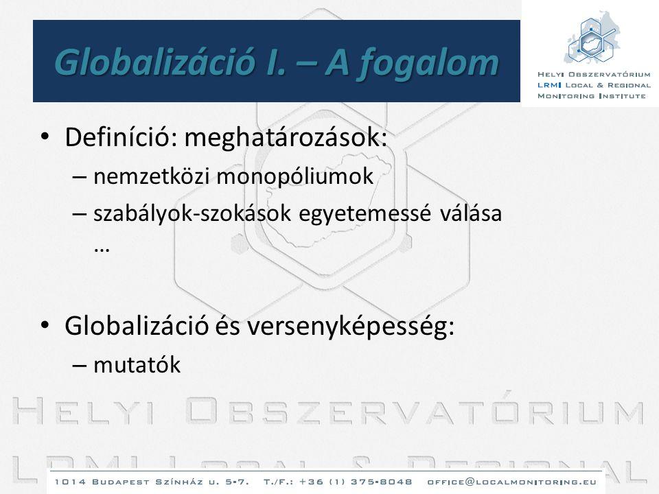 Globalizáció I. – A fogalom • Definíció: meghatározások: – nemzetközi monopóliumok – szabályok-szokások egyetemessé válása … • Globalizáció és verseny