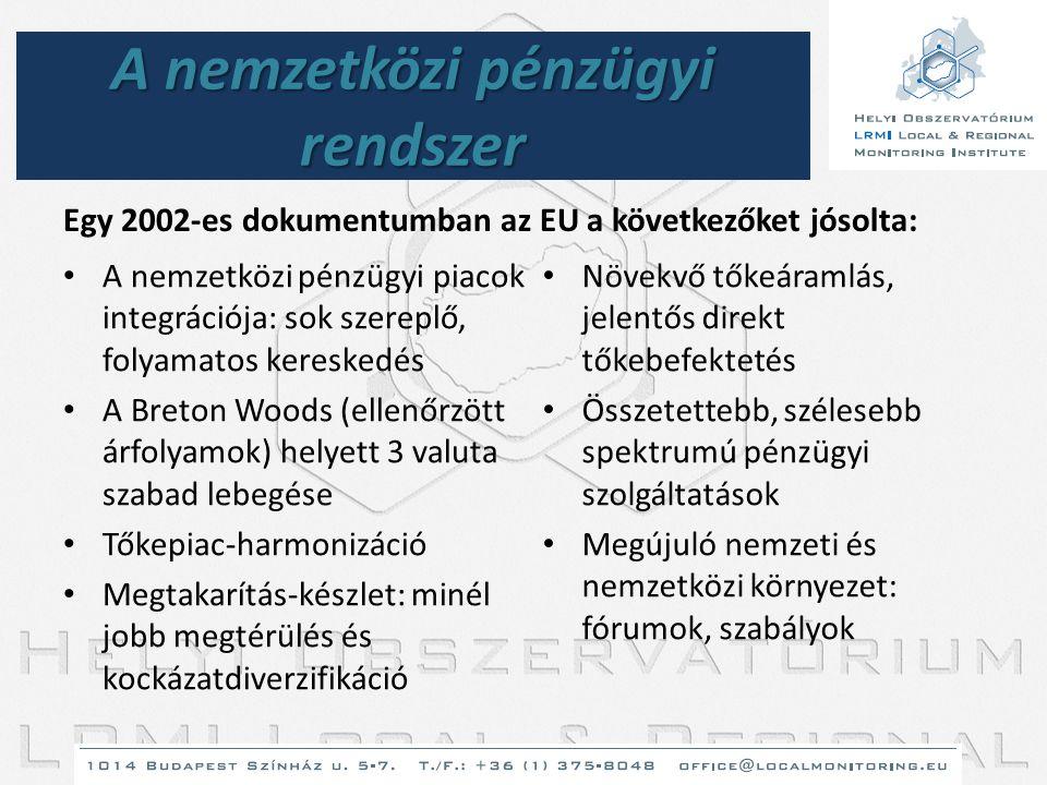 A nemzetközi pénzügyi rendszer Egy 2002-es dokumentumban az EU a következőket jósolta: • A nemzetközi pénzügyi piacok integrációja: sok szereplő, foly
