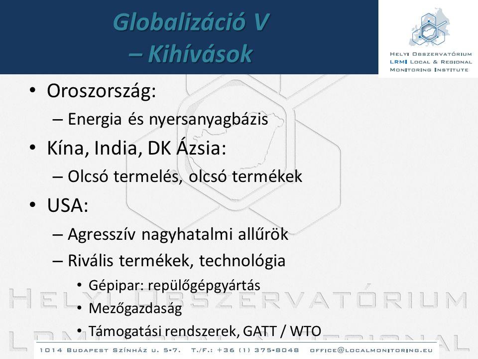 Globalizáció V – Kihívások • Oroszország: – Energia és nyersanyagbázis • Kína, India, DK Ázsia: – Olcsó termelés, olcsó termékek • USA: – Agresszív na