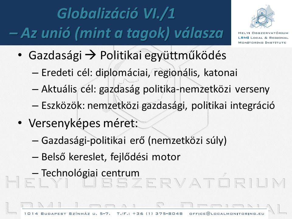 Globalizáció VI./1 – Az unió (mint a tagok) válasza • Gazdasági  Politikai együttműködés – Eredeti cél: diplomáciai, regionális, katonai – Aktuális c
