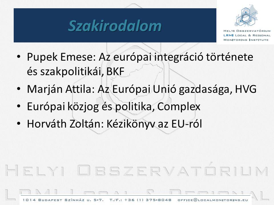 Szakirodalom • Pupek Emese: Az európai integráció története és szakpolitikái, BKF • Marján Attila: Az Európai Unió gazdasága, HVG • Európai közjog és