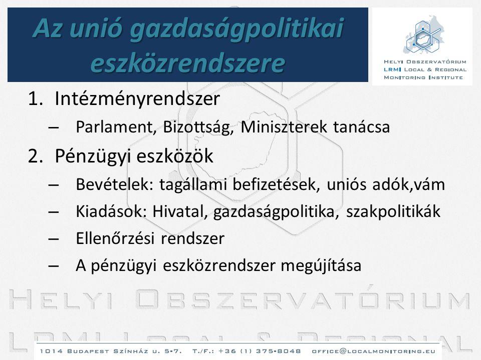 Az unió gazdaságpolitikai eszközrendszere 1.Intézményrendszer – Parlament, Bizottság, Miniszterek tanácsa 2.Pénzügyi eszközök – Bevételek: tagállami b
