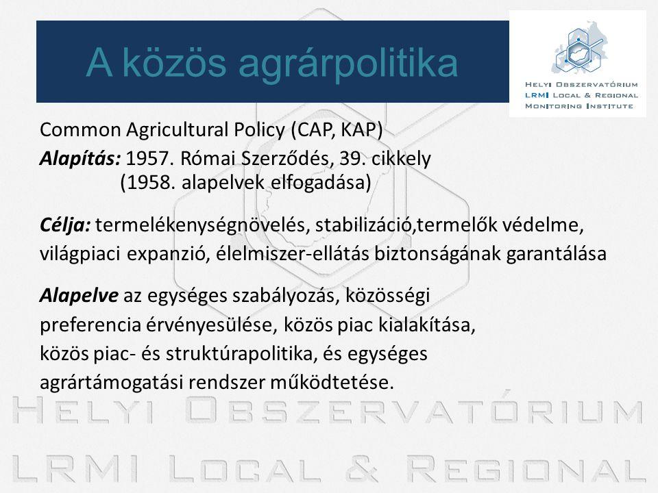 Common Agricultural Policy (CAP, KAP) Alapítás: 1957. Római Szerződés, 39. cikkely (1958. alapelvek elfogadása) Célja: termelékenységnövelés, stabiliz