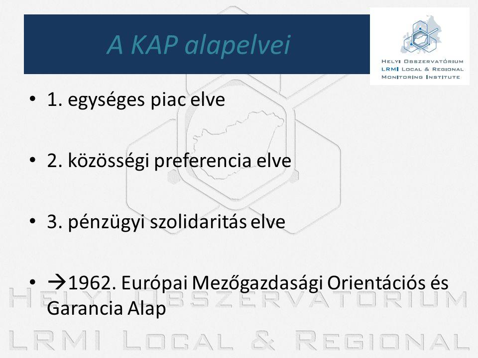• 1. egységes piac elve • 2. közösségi preferencia elve • 3. pénzügyi szolidaritás elve •  1962. Európai Mezőgazdasági Orientációs és Garancia Alap A