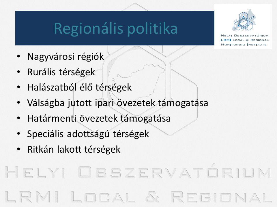 • Nagyvárosi régiók • Rurális térségek • Halászatból élő térségek • Válságba jutott ipari övezetek támogatása • Határmenti övezetek támogatása • Speci