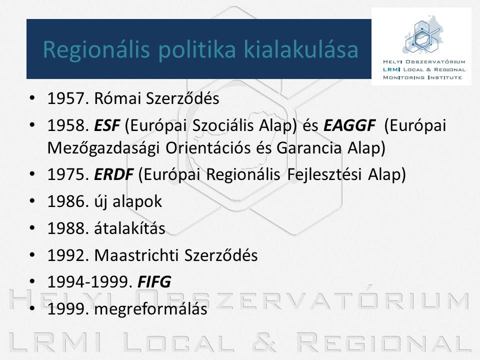 • 1957. Római Szerződés • 1958. ESF (Európai Szociális Alap) és EAGGF (Európai Mezőgazdasági Orientációs és Garancia Alap) • 1975. ERDF (Európai Regio