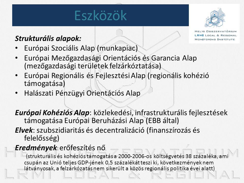 Strukturális alapok: • Európai Szociális Alap (munkapiac) • Európai Mezőgazdasági Orientációs és Garancia Alap (mezőgazdasági területek felzárkóztatás