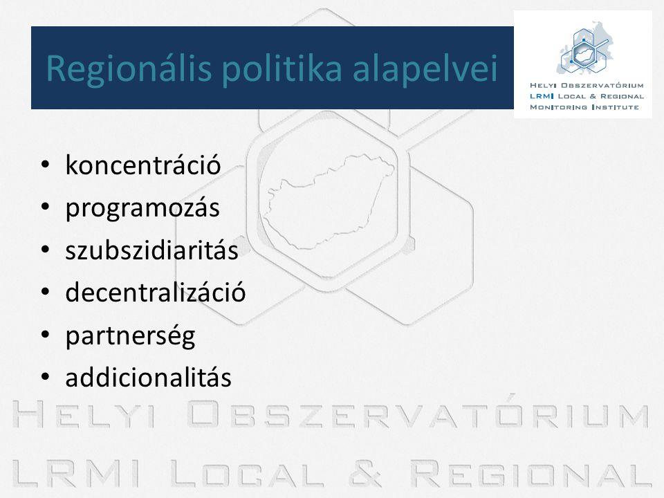 • koncentráció • programozás • szubszidiaritás • decentralizáció • partnerség • addicionalitás Regionális politika alapelvei