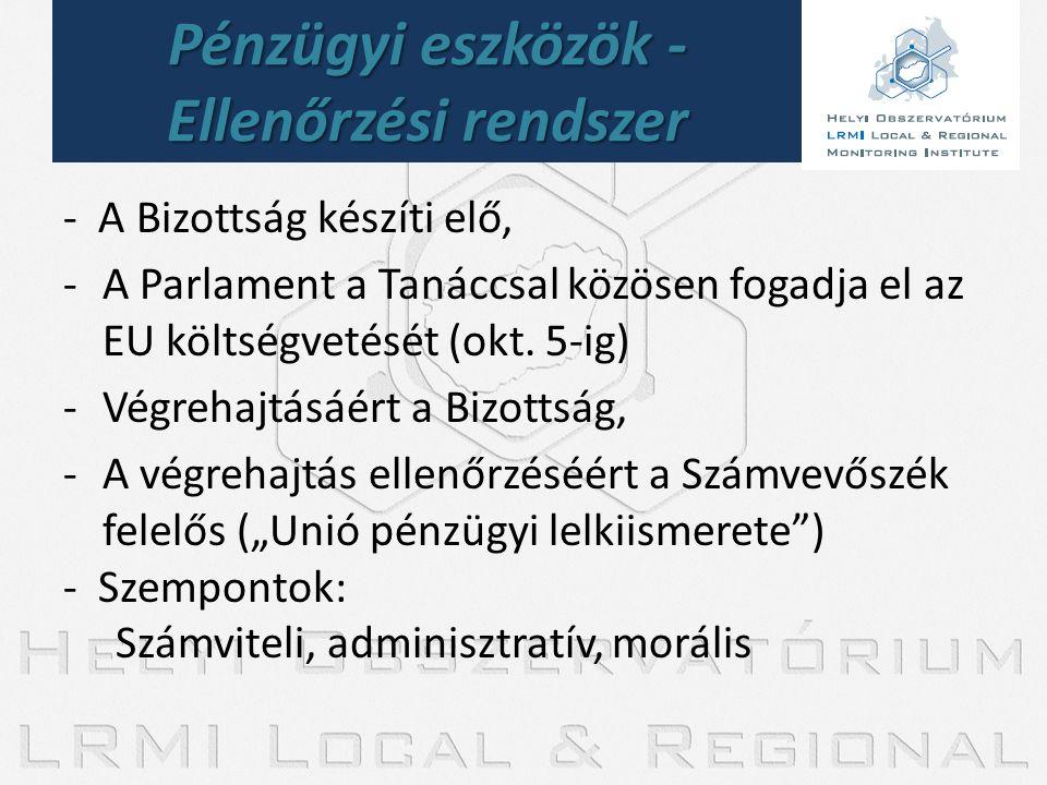 - A Bizottság készíti elő, -A Parlament a Tanáccsal közösen fogadja el az EU költségvetését (okt. 5-ig) -Végrehajtásáért a Bizottság, -A végrehajtás e
