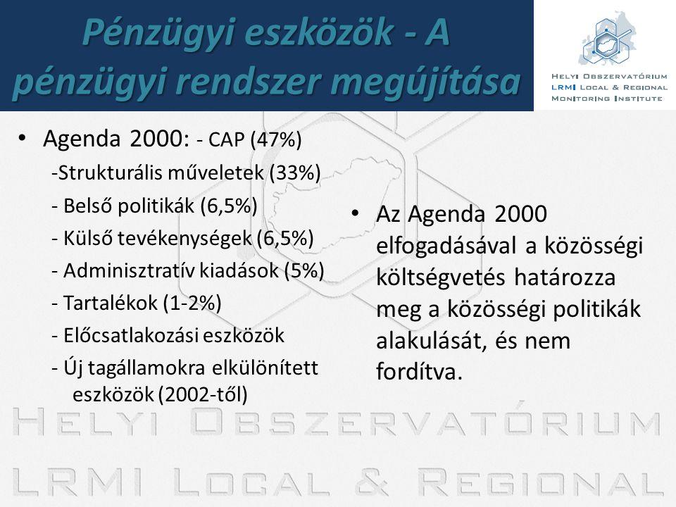 Pénzügyi eszközök - A pénzügyi rendszer megújítása • Agenda 2000: - CAP (47%) -Strukturális műveletek (33%) - Belső politikák (6,5%) - Külső tevékenys