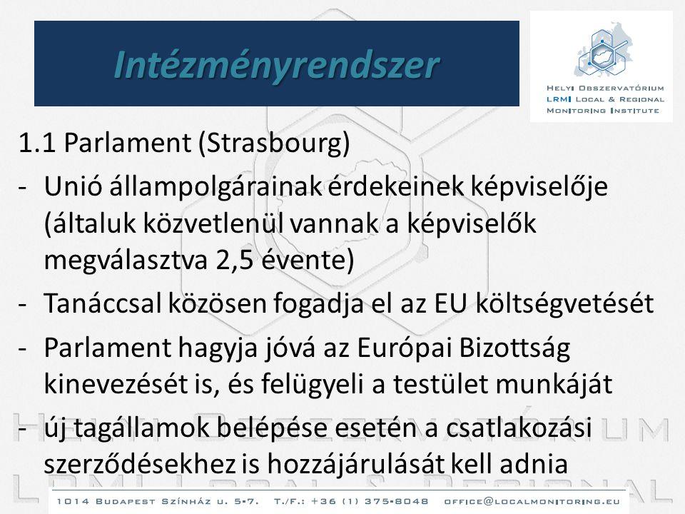Intézményrendszer 1.1 Parlament (Strasbourg) -Unió állampolgárainak érdekeinek képviselője (általuk közvetlenül vannak a képviselők megválasztva 2,5 é