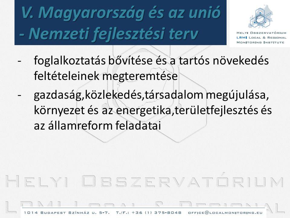 V. Magyarország és az unió - Nemzeti fejlesztési terv -foglalkoztatás bővítése és a tartós növekedés feltételeinek megteremtése -gazdaság,közlekedés,t