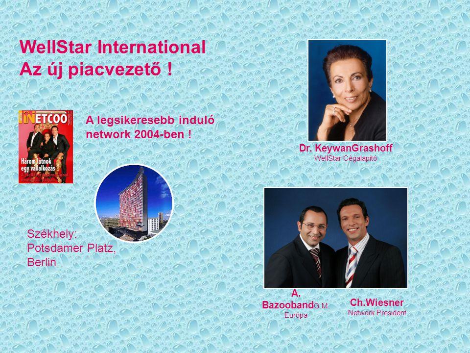 WellStar International Az új piacvezető ! A legsikeresebb induló network 2004-ben ! Székhely: Potsdamer Platz, Berlin Dr. KeywanGrashoff WellStar Céga