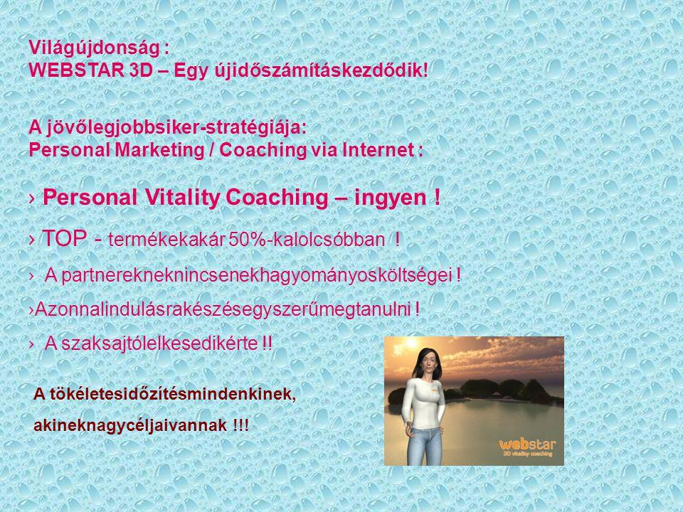 Világújdonság : WEBSTAR 3D – Egy újidőszámításkezdődik! A jövőlegjobbsiker-stratégiája: Personal Marketing / Coaching via Internet : › Personal Vitali