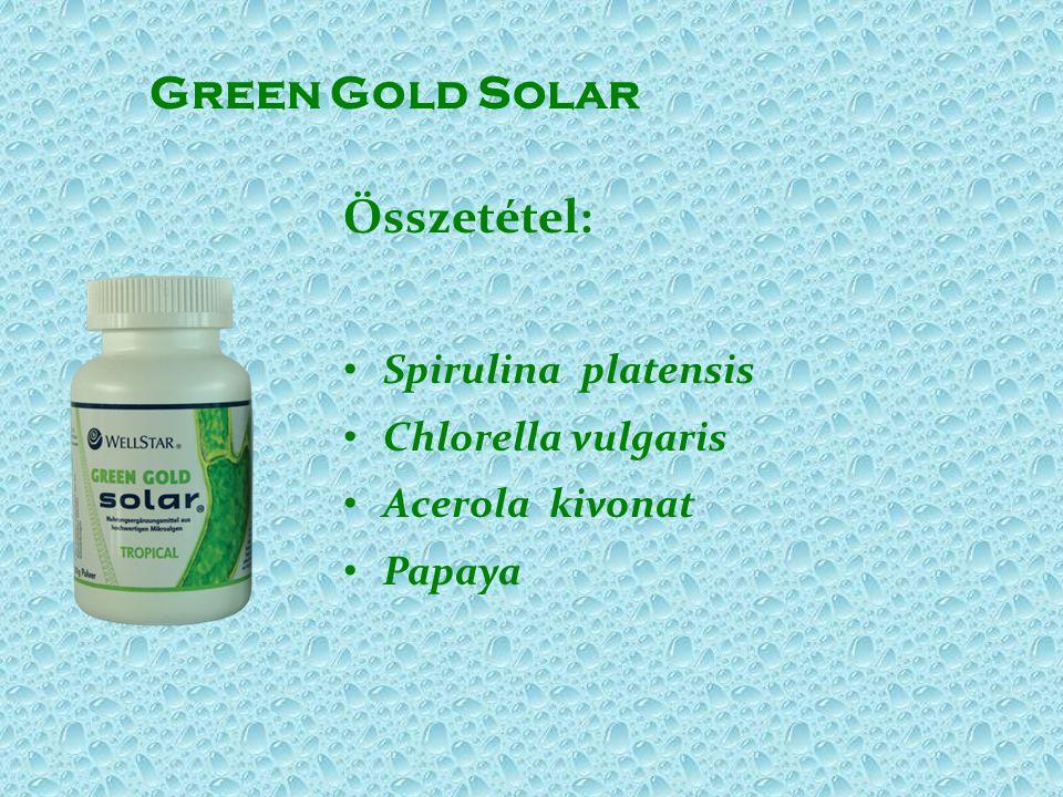 Green Gold Solar Összetétel: • Spirulina platensis • Chlorella vulgaris • Acerola kivonat • Papaya