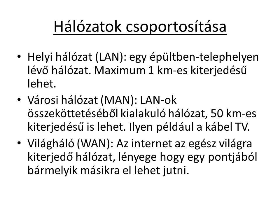 Hálózatok csoportosítása • Helyi hálózat (LAN): egy épültben-telephelyen lévő hálózat. Maximum 1 km-es kiterjedésű lehet. • Városi hálózat (MAN): LAN-