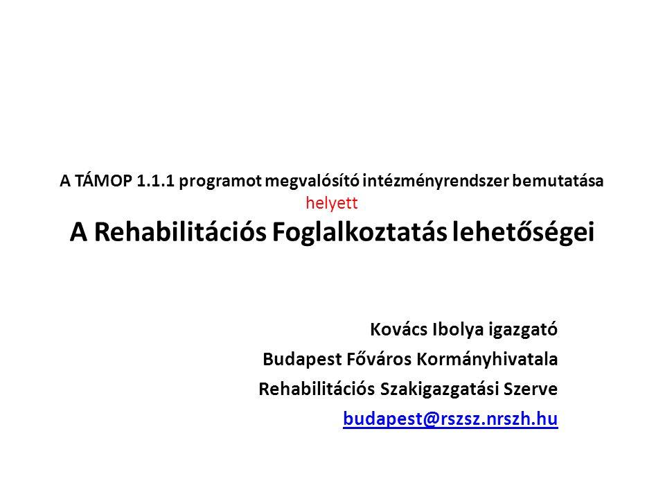 A TÁMOP 1.1.1 programot megvalósító intézményrendszer bemutatása helyett A Rehabilitációs Foglalkoztatás lehetőségei Kovács Ibolya igazgató Budapest F