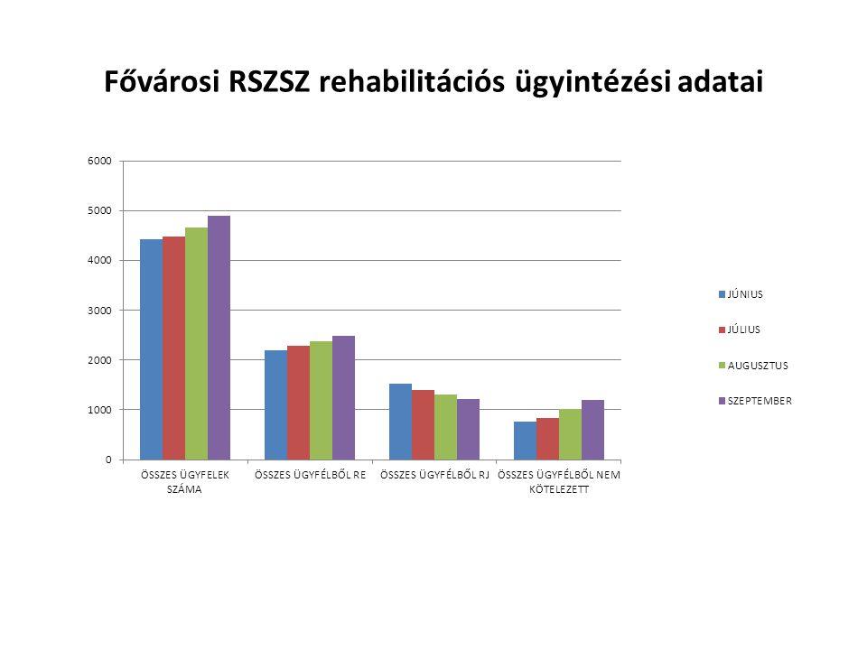 Fővárosi RSZSZ rehabilitációs ügyintézési adatai
