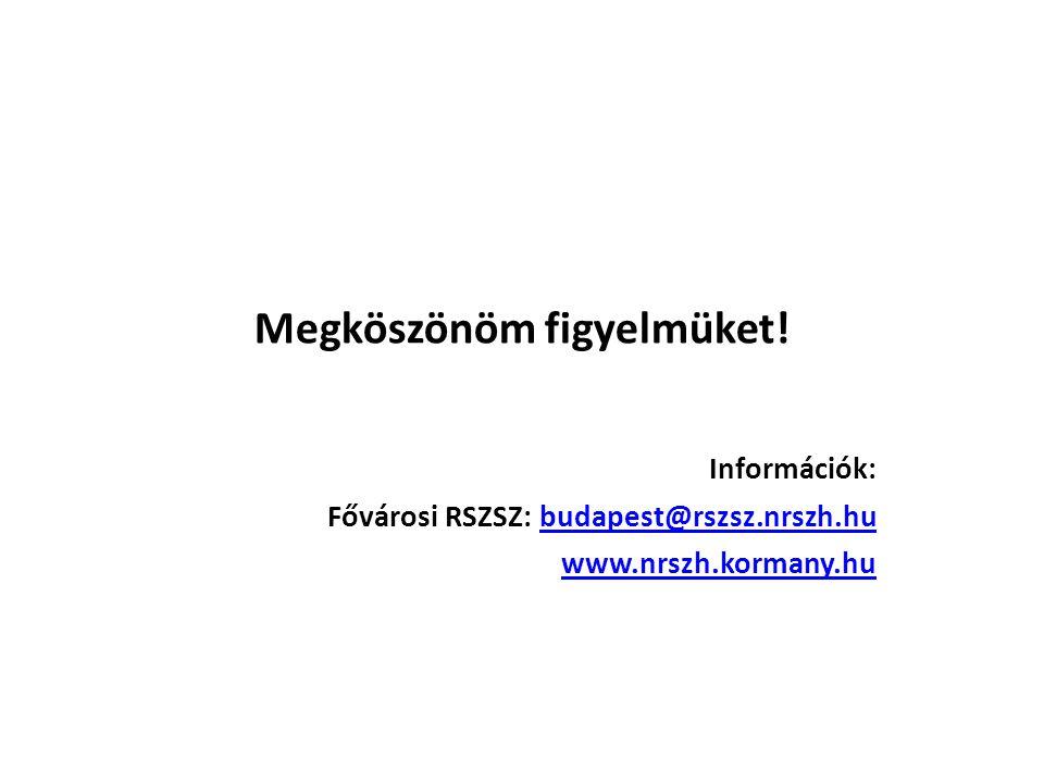 Megköszönöm figyelmüket! Információk: Fővárosi RSZSZ: budapest@rszsz.nrszh.hubudapest@rszsz.nrszh.hu www.nrszh.kormany.hu