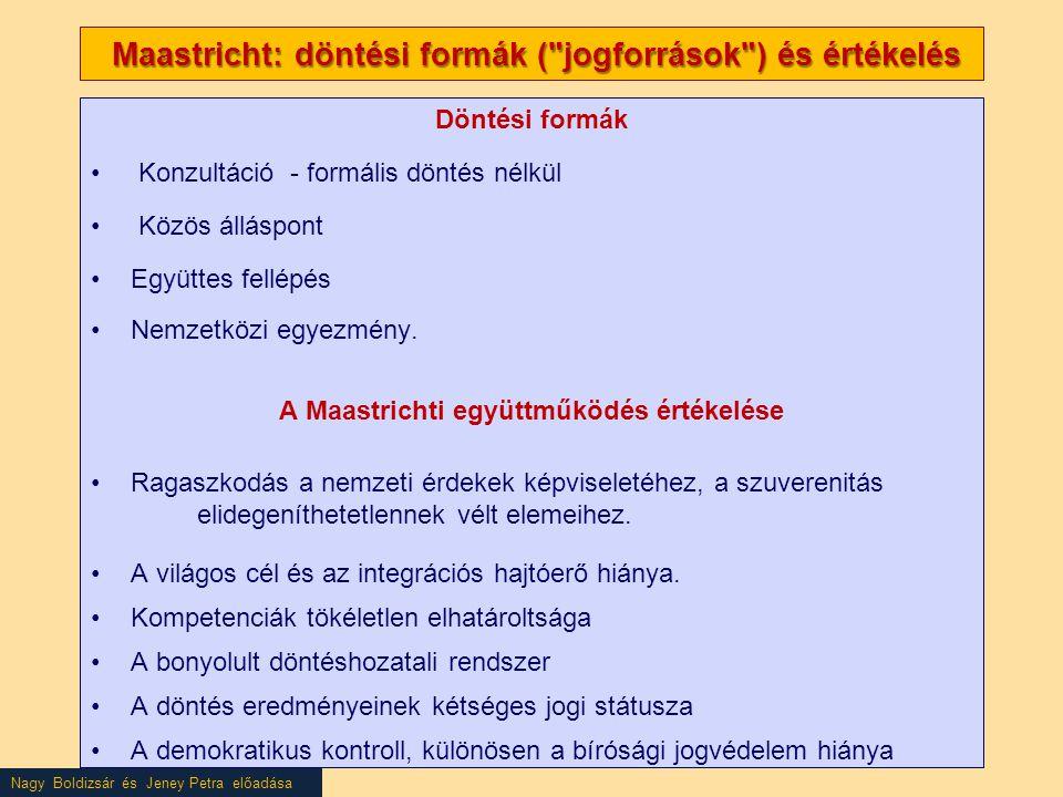 Nagy Boldizsár és Jeney Petra előadása Maastricht: döntési formák (