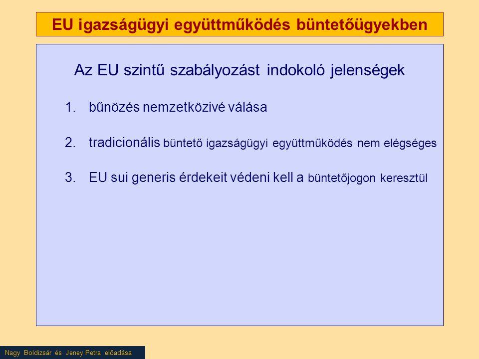 Nagy Boldizsár és Jeney Petra előadása EU igazságügyi együttműködés büntetőügyekben Az EU szintű szabályozást indokoló jelenségek 1.bűnözés nemzetközivé válása 2.tradicionális büntető igazságügyi együttműködés nem elégséges 3.EU sui generis érdekeit védeni kell a büntetőjogon keresztül