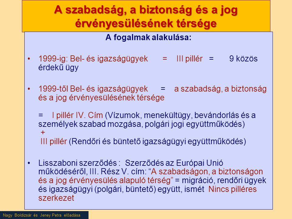 Nagy Boldizsár és Jeney Petra előadása A szabadság, a biztonság és a jog érvényesülésének térsége A fogalmak alakulása: •1999-ig: Bel- és igazságügyek = III pillér = 9 közös érdekű ügy •1999-től Bel- és igazságügyek = a szabadság, a biztonság és a jog érvényesülésének térsége = I pillér IV.
