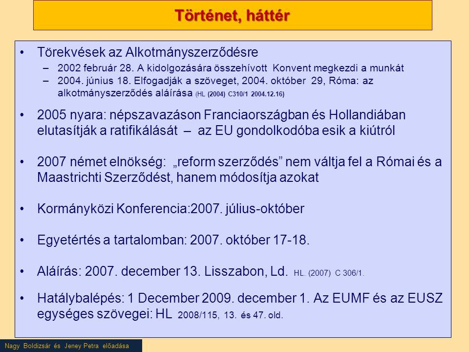 Nagy Boldizsár és Jeney Petra előadása Történet, háttér •Törekvések az Alkotmányszerződésre –2002 február 28. A kidolgozására összehívott Konvent megk