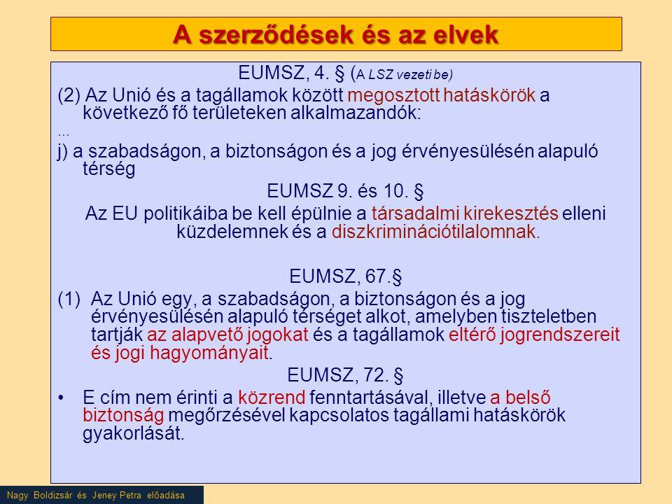 Nagy Boldizsár és Jeney Petra előadása A szerződések és az elvek EUMSZ, 4.