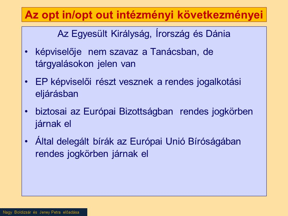 Nagy Boldizsár és Jeney Petra előadása Az opt in/opt out intézményi következményei Az Egyesült Királyság, Írország és Dánia •képviselője nem szavaz a Tanácsban, de tárgyalásokon jelen van •EP képviselői részt vesznek a rendes jogalkotási eljárásban •biztosai az Európai Bizottságban rendes jogkörben járnak el •Által delegált bírák az Európai Unió Bíróságában rendes jogkörben járnak el
