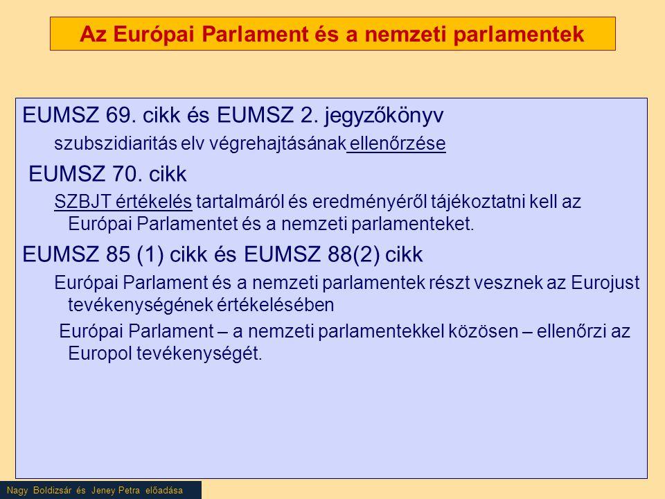Nagy Boldizsár és Jeney Petra előadása Az Európai Parlament és a nemzeti parlamentek EUMSZ 69. cikk és EUMSZ 2. jegyzőkönyv szubszidiaritás elv végreh