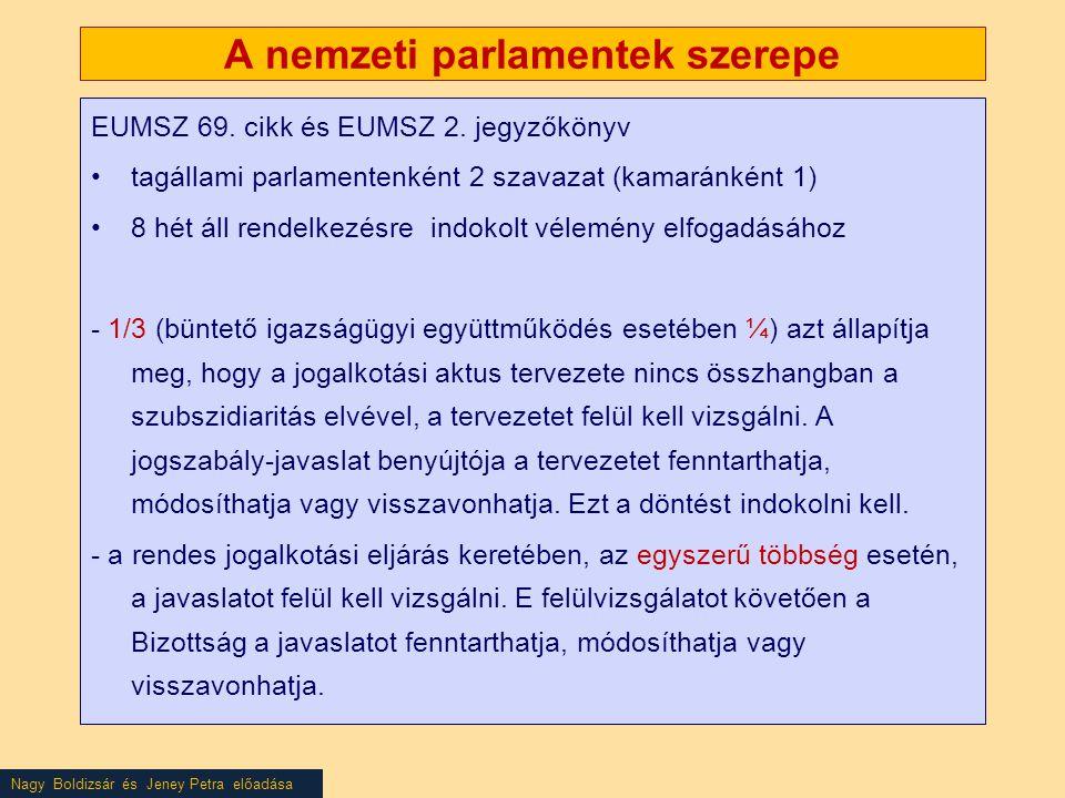 Nagy Boldizsár és Jeney Petra előadása A nemzeti parlamentek szerepe EUMSZ 69. cikk és EUMSZ 2. jegyzőkönyv •tagállami parlamentenként 2 szavazat (kam