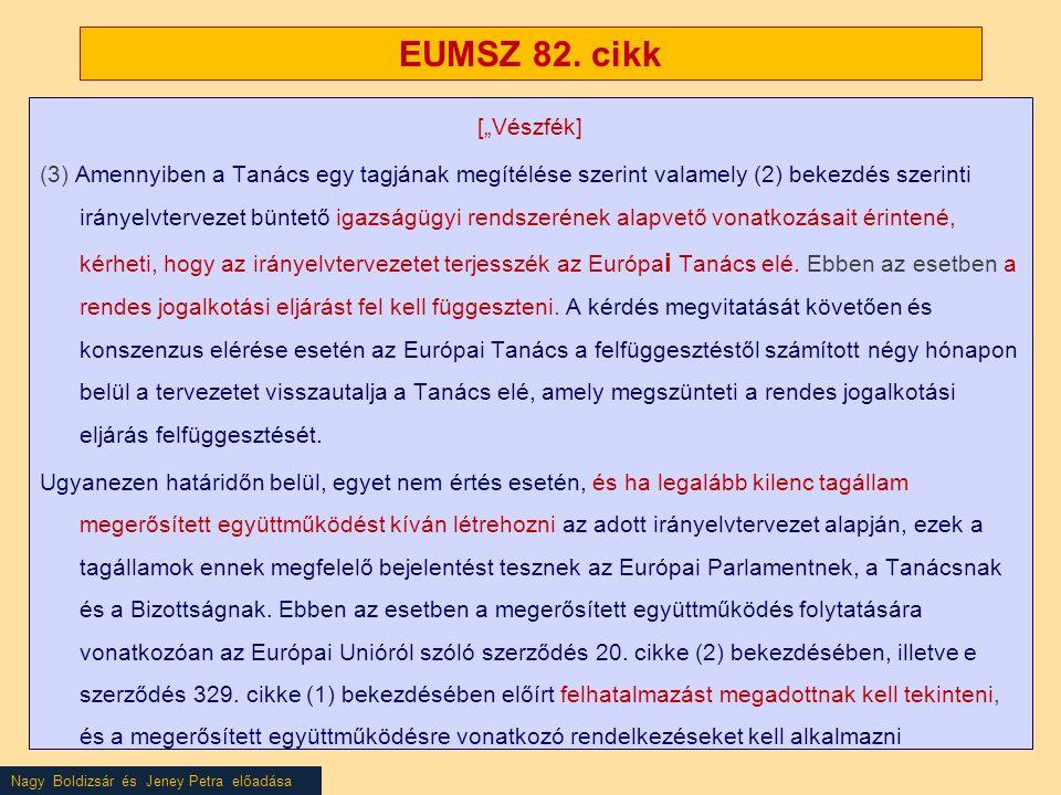"""Nagy Boldizsár és Jeney Petra előadása EUMSZ 82. cikk [""""Vészfék] (3) Amennyiben a Tanács egy tagjának megítélése szerint valamely (2) bekezdés szerint"""
