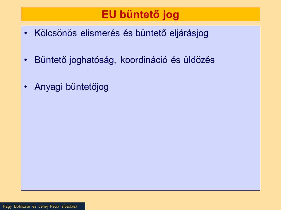 Nagy Boldizsár és Jeney Petra előadása EU büntető jog •Kölcsönös elismerés és büntető eljárásjog •Büntető joghatóság, koordináció és üldözés •Anyagi büntetőjog