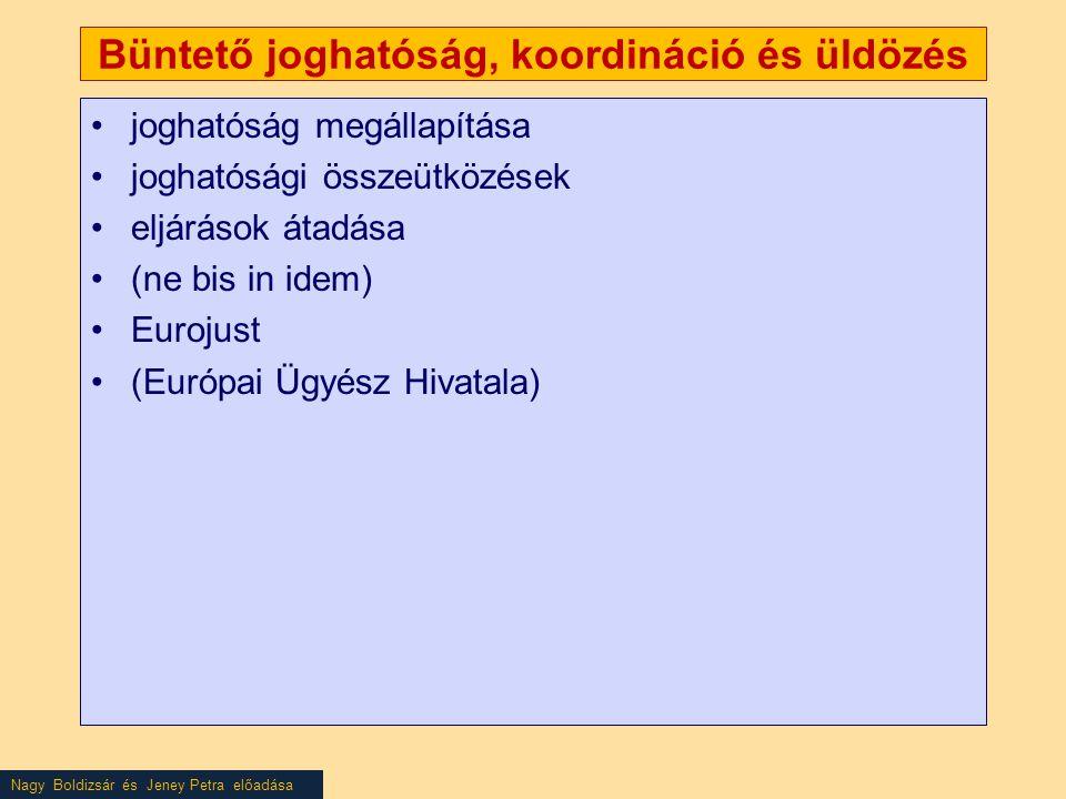Nagy Boldizsár és Jeney Petra előadása Büntető joghatóság, koordináció és üldözés •joghatóság megállapítása •joghatósági összeütközések •eljárások átadása •(ne bis in idem) •Eurojust •(Európai Ügyész Hivatala)