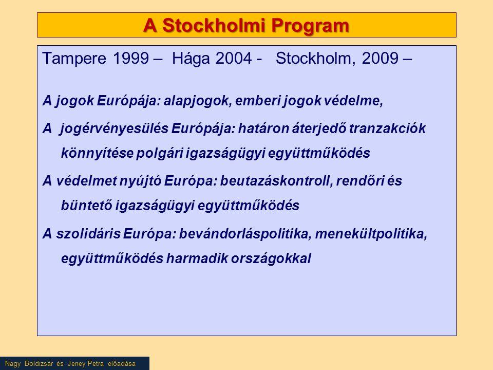 Nagy Boldizsár és Jeney Petra előadása A Stockholmi Program Tampere 1999 – Hága 2004 - Stockholm, 2009 – A jogok Európája: alapjogok, emberi jogok védelme, A jogérvényesülés Európája: határon áterjedő tranzakciók könnyítése polgári igazságügyi együttműködés A védelmet nyújtó Európa: beutazáskontroll, rendőri és büntető igazságügyi együttműködés A szolidáris Európa: bevándorláspolitika, menekültpolitika, együttműködés harmadik országokkal