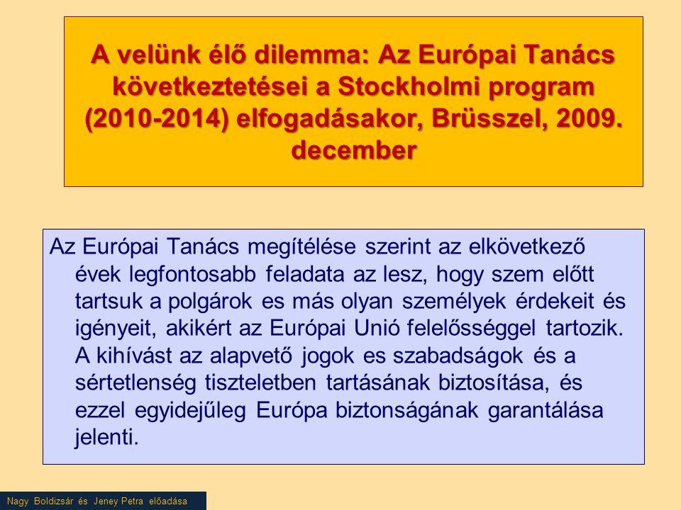 Nagy Boldizsár és Jeney Petra előadása A velünk élő dilemma: Az Európai Tanács következtetései a Stockholmi program (2010-2014) elfogadásakor, Brüsszel, 2009.