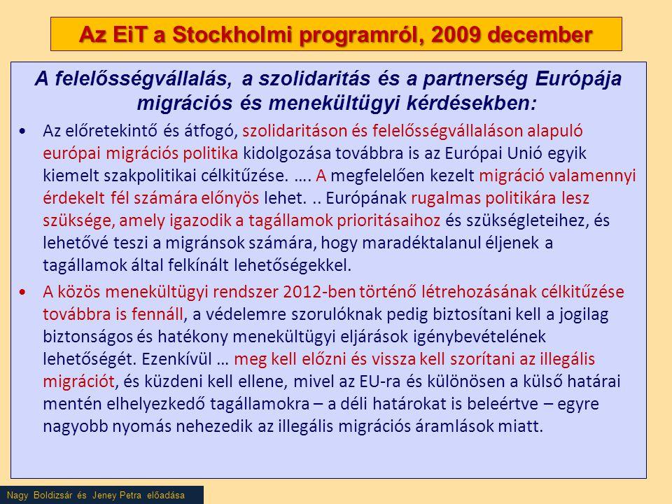 Nagy Boldizsár és Jeney Petra előadása Az EiT a Stockholmi programról, 2009 december A felelősségvállalás, a szolidaritás és a partnerség Európája migrációs és menekültügyi kérdésekben: •Az előretekintő és átfogó, szolidaritáson és felelősségvállaláson alapuló európai migrációs politika kidolgozása továbbra is az Európai Unió egyik kiemelt szakpolitikai célkitűzése.