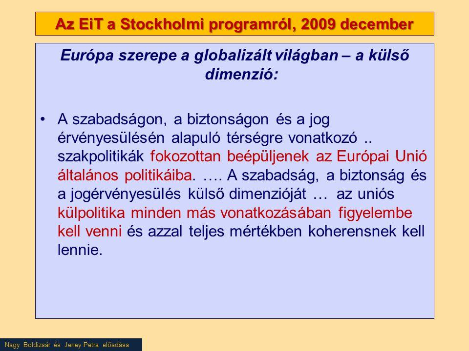 Nagy Boldizsár és Jeney Petra előadása Az EiT a Stockholmi programról, 2009 december Európa szerepe a globalizált világban – a külső dimenzió: •A szabadságon, a biztonságon és a jog érvényesülésén alapuló térségre vonatkozó..