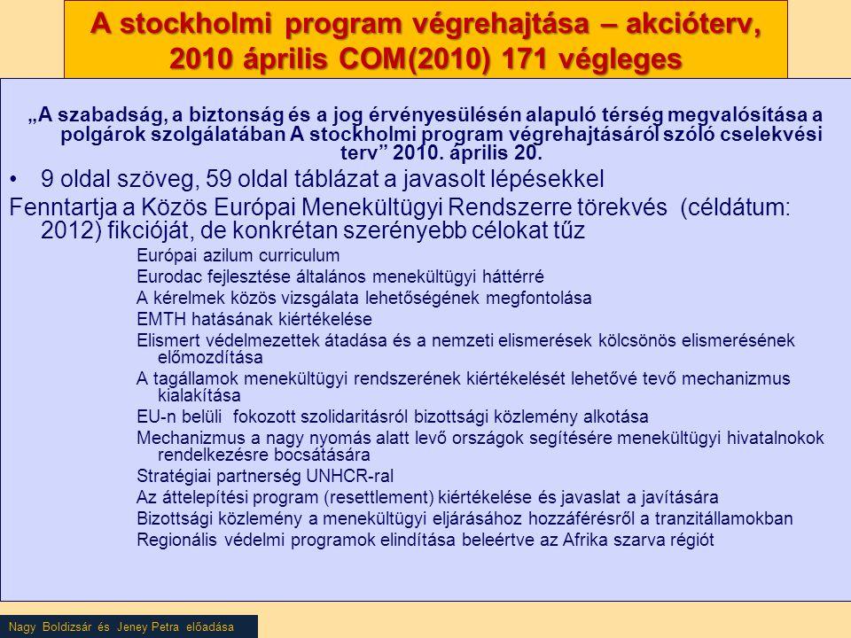 """Nagy Boldizsár és Jeney Petra előadása A stockholmi program végrehajtása – akcióterv, 2010 április COM(2010) 171 végleges """"A szabadság, a biztonság és a jog érvényesülésén alapuló térség megvalósítása a polgárok szolgálatában A stockholmi program végrehajtásáról szóló cselekvési terv 2010."""